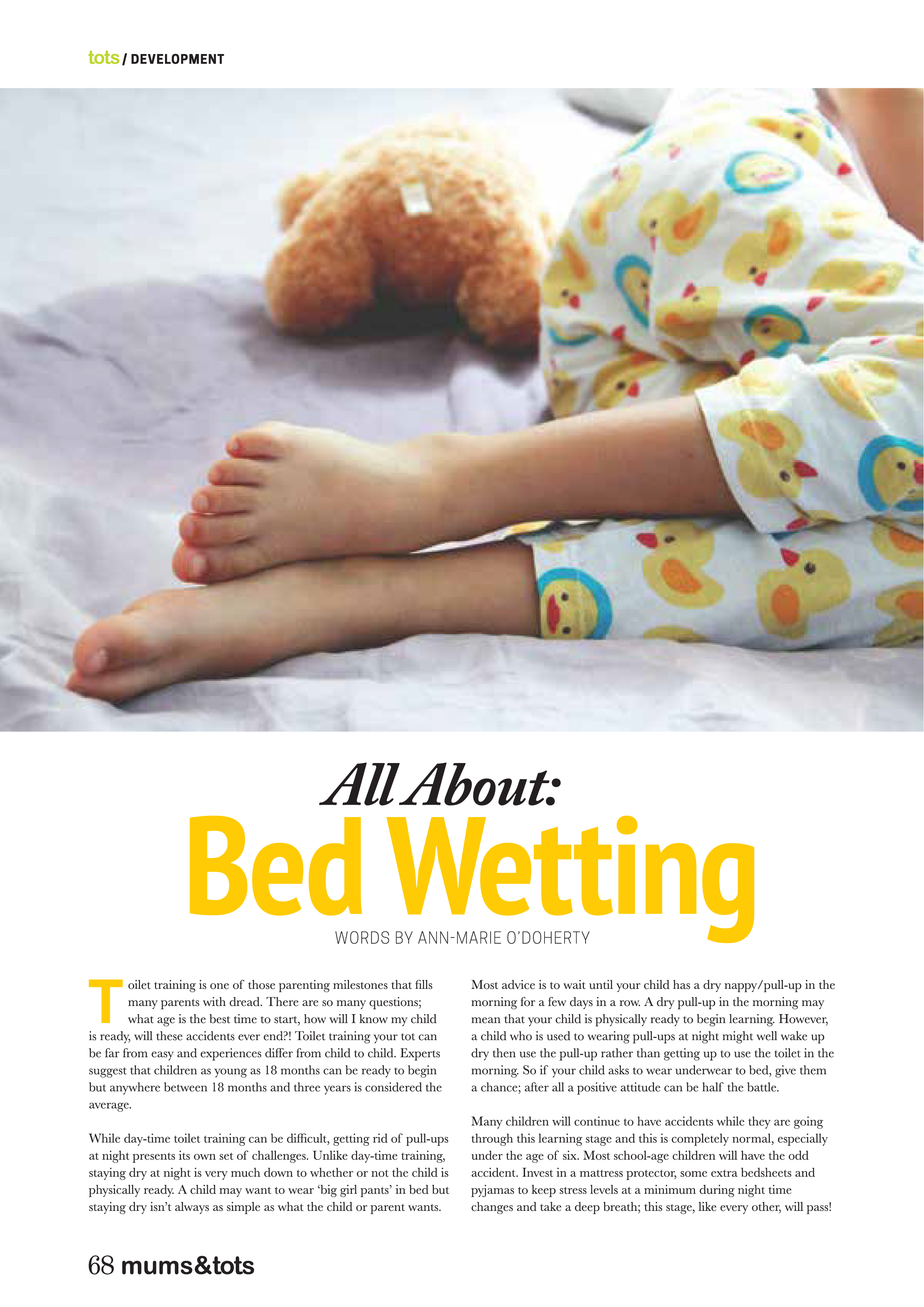 Depiction of an article published in Ireland, mums&tots magazine, discussing bedwetting and recommending the Wet-Stop alarm to cure bedwetting.
